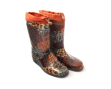 rubber boots with a pattern on a white background Stock Photo - 5330015