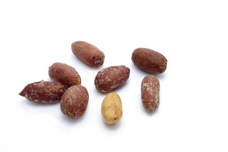 goober peas: salted peeled peanuts on a white background