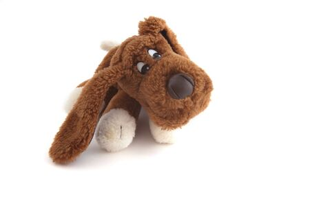 Childrens toy dog on a white background photo