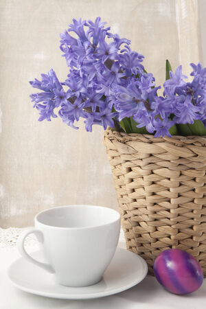 Bouquet of purple hyacinths in a vase on the table photo
