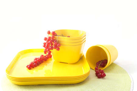 Red currants in a yellow dishes