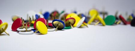 drawing pin: push pin thumbtack drawing pin isolated on white background Stock Photo