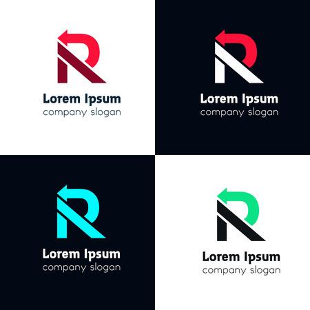 R letter company logo arrow sign