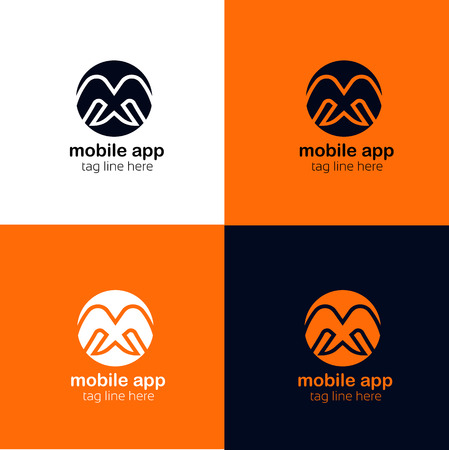minimalistic: M letter minimalistic logo design Illustration