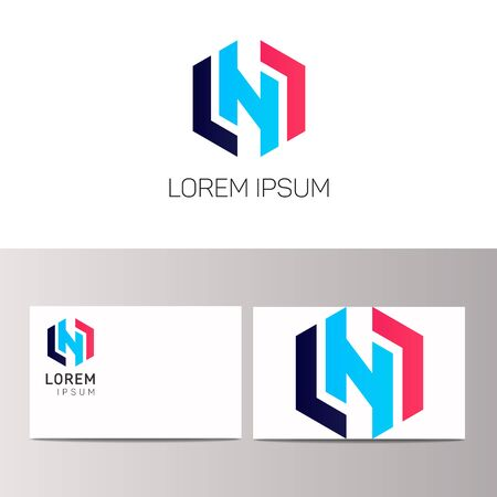 Abstract N letter clean icon design Illustration