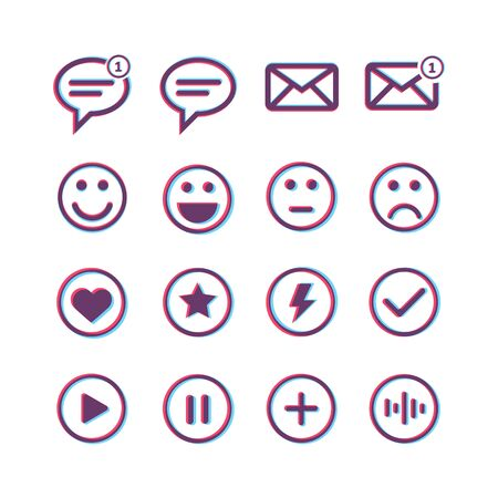 Icons pack with email messages music buttons and emotions signs Stock Illustratie