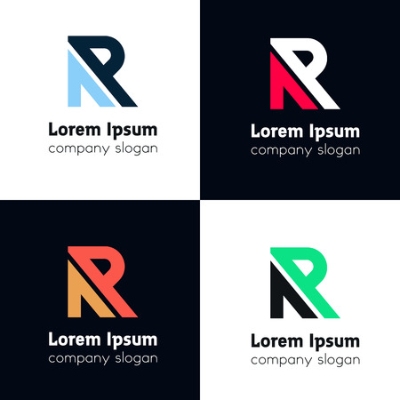 R letter logo line emblem sign vector element icon