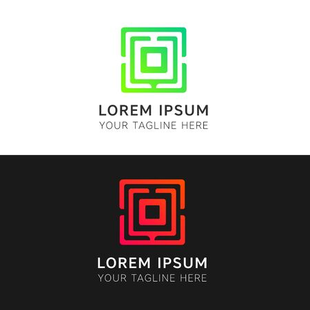 square logo: Abstract lines sign iconic square logo vector design. O letter emblem