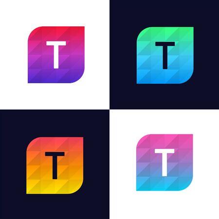 t square: T letter icon mosaic polygonal colorful shape element.