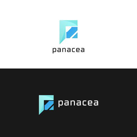 Abstract company P letter circle sign vector icon logo design