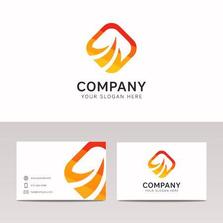 ornage: Abstract solar power logo company sign icon vector design