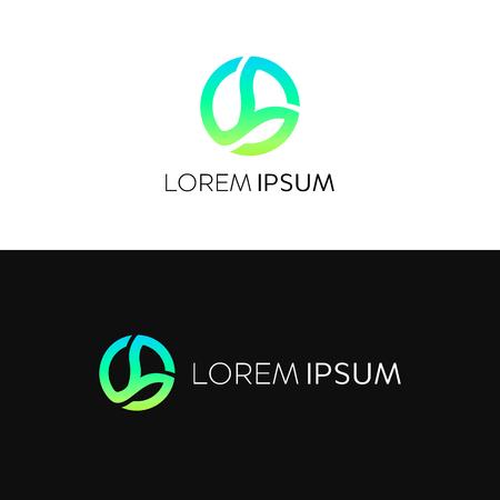 抽象的なエコ円ロゴ アイコン記号ベクトル デザイン