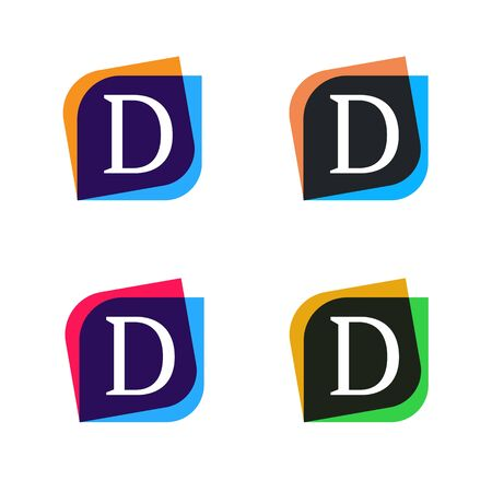 d mark: Abstract fun shape elements company sign icon.