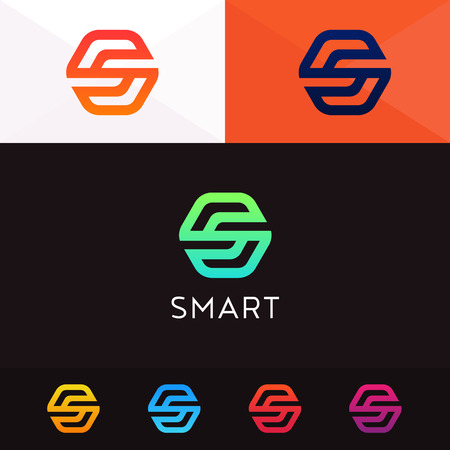 Abstract hexagon s letter company logo sign. Vector iconic emblem Ilustração