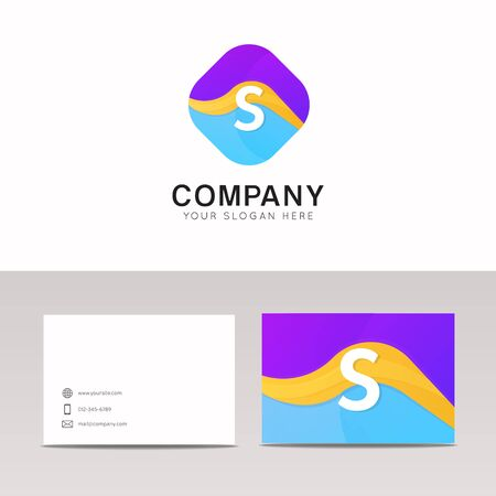 rhomb: Absract S letter in rhomb logo icon. Fun company logo sign vector design. Illustration