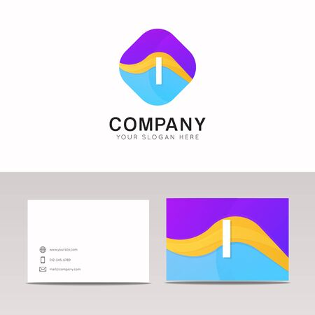 Absract I letter in rhomb logo icon. Fun company logo sign vector design.