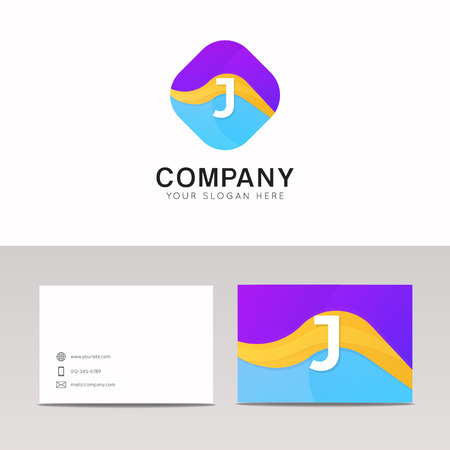 Absract J letter in rhomb logo icon. Fun company logo sign vector design.