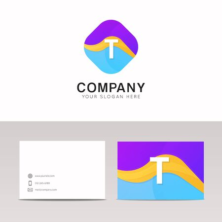 rhomb: Absract T letter in rhomb logo icon. Fun company logo sign vector design.