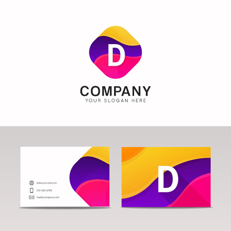 d mark: Fun abstract colorful shape D letter logo icon sign vector design