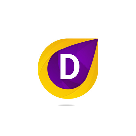 d mark: Fun flat D letter logo sign. Abstract shape element icon vector design