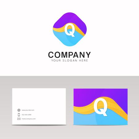 rhomb: Absract Q letter in rhomb logo icon. Fun company logo sign vector design.