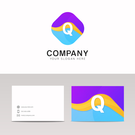 Absract Q letter in rhomb logo icon. Fun company logo sign vector design.