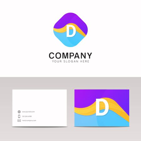 Absract D letter in rhomb logo icon. Fun company logo sign vector design.