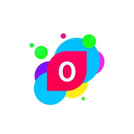 Abstract fun O letter logo creative flat children avatar vector design