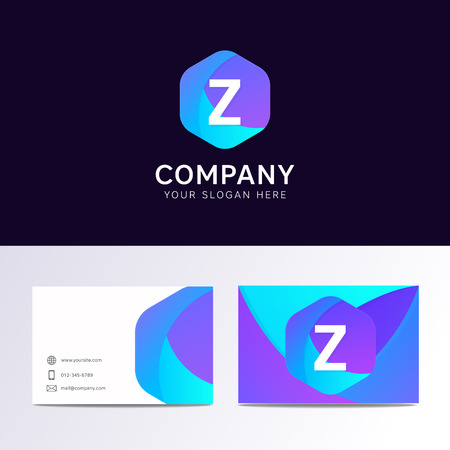 Abstract flat Z letter logo iconic sign with company business card vector design