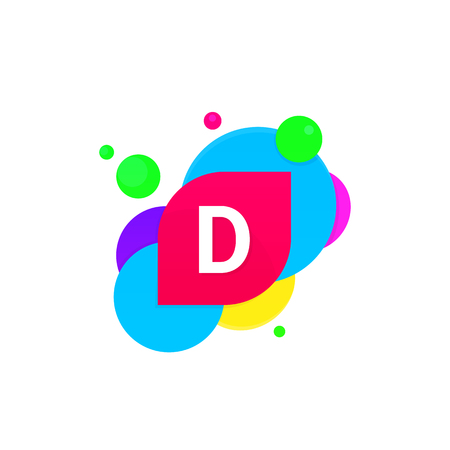d mark: Abstract fun D letter logo creative flat children avatar vector design