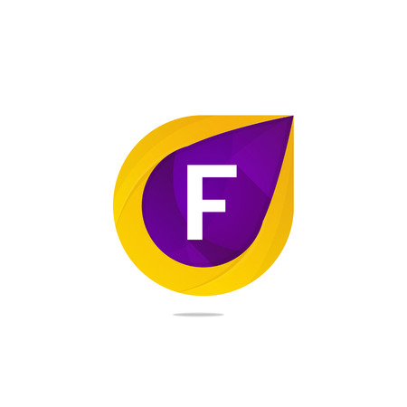 Fun flat F letter logo sign. Abstract shape element icon vector design Illustration