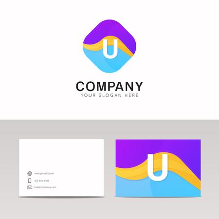 rhomb: Absract U letter in rhomb logo icon. Fun company logo sign vector design. Illustration