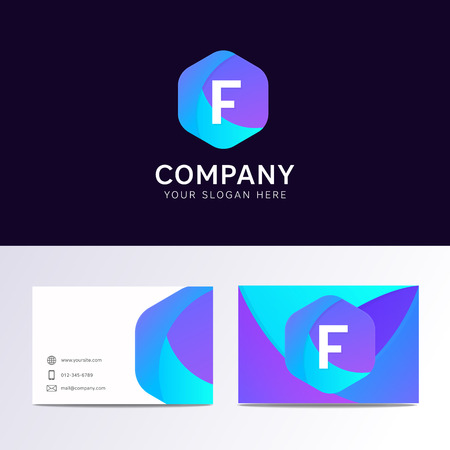 Abstract flat F letter logo iconic sign with company business card vector design