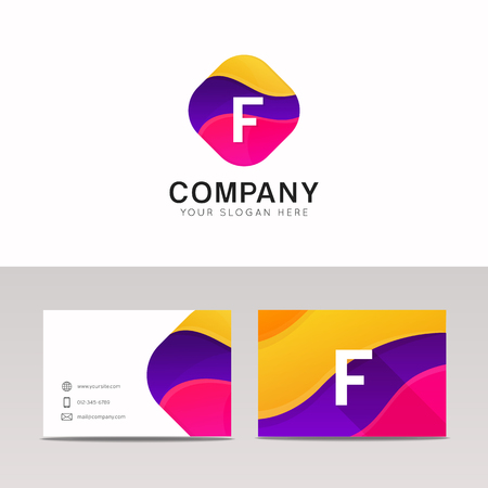 Fun abstract colorful shape F letter logo icon sign vector design