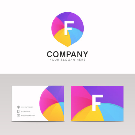 Fun abstract colorful logo F letter flat kinds icon sign vector design with corporate identity business card.