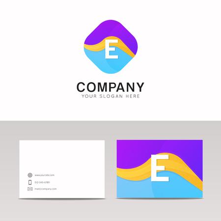 rhomb: Absract E letter in rhomb logo icon. Fun company logo sign vector design.