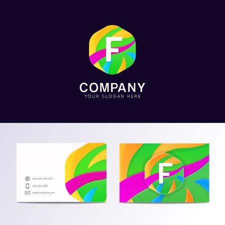 Abstract fun F letter logo sign. Flat children hexagon avatar vector design Illustration