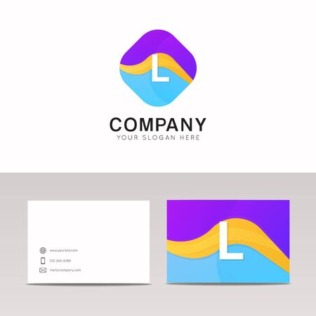 rhomb: Absract L letter in rhomb logo icon. Fun company logo sign vector design.