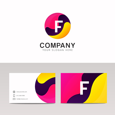 Fun round F letter logo sign. Abstract circle shape icon vector design.