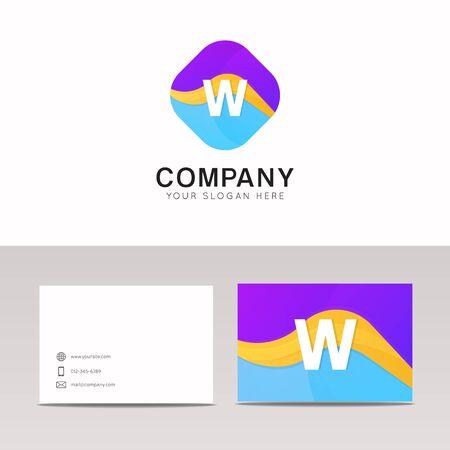 rhomb: Absract W letter in rhomb logo icon. Fun company logo sign vector design. Illustration