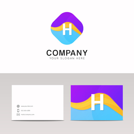 rhomb: Absract H letter in rhomb logo icon. Fun company logo sign vector design.