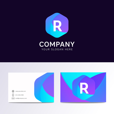 r sliced: Abstract flat R letter logo iconic sign with company business card vector design Illustration