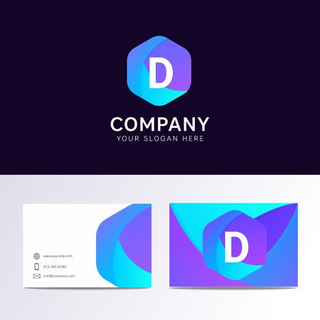 Abstracte platte D brief logo iconisch teken met bedrijf visitekaartje vector ontwerp