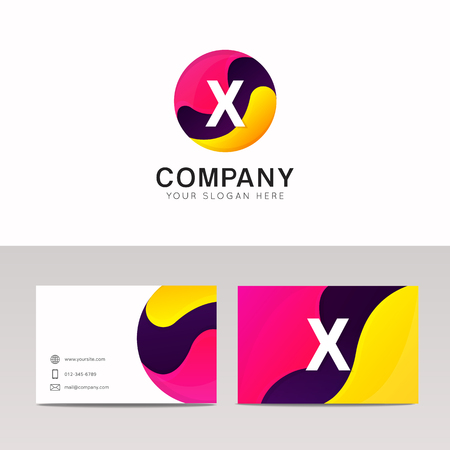 x marks the spot: Fun round X letter logo sign. Abstract circle shape icon vector design.
