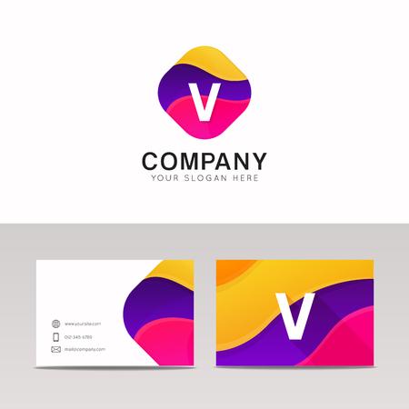 v shape: Fun abstract colorful shape V letter logo icon sign vector design