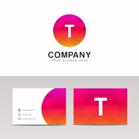 Minimalistic flat T letter in round shape logo company icon vector design