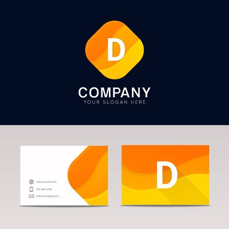 d mark: Abstract orange rhombus shape D icon letter element vector design Illustration
