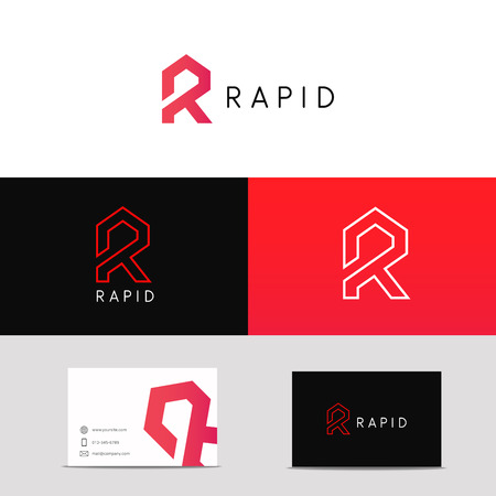 Letter R logo icon sign with branding business card.