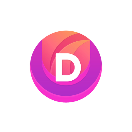 d mark: Letter D logo abstract circle shape element. Vector round company icon sign.