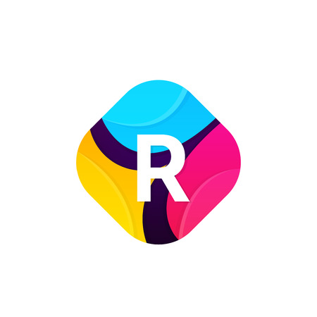 Abstract funny colorful rhombus icon letter R logo sign vector design